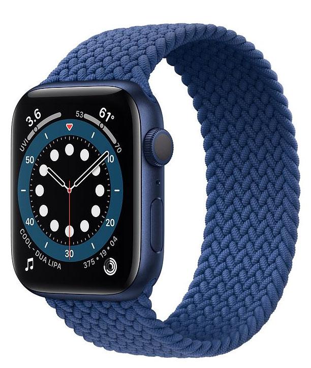 Correa Solo Loop sin cierre en un Apple Watch Series 6 azul