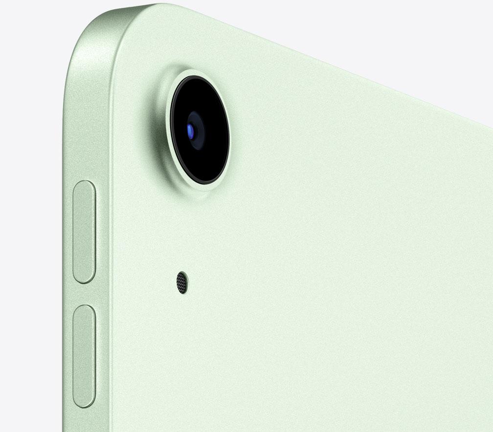 iPad Air 2020 en color verde, con su cámara trasera en detalle