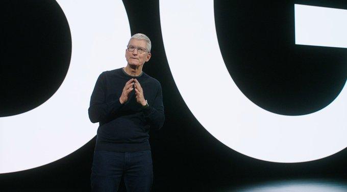 Tim Cook durante la presentación del iPhone 12 en octubre de 2020