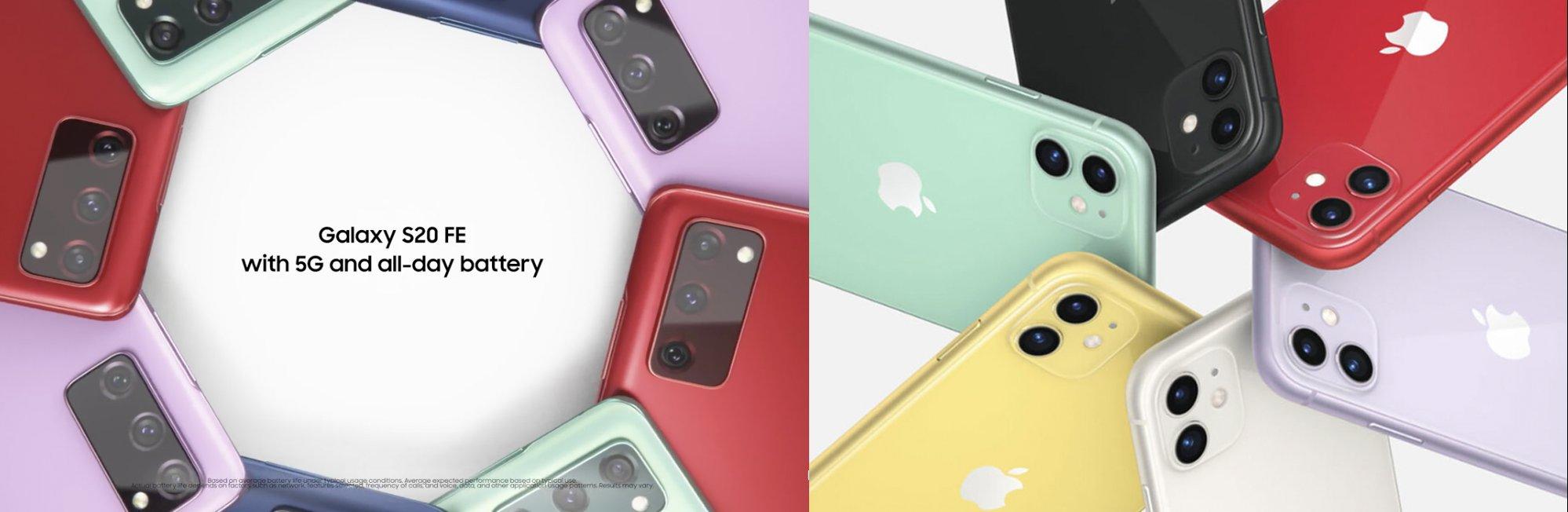 Anuncio del Samsung Galaxy S20 a la izquierda, anuncio del iPhone 11 a la derecha