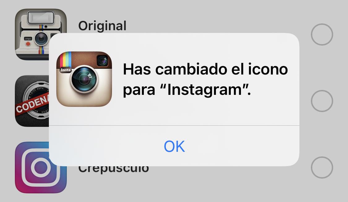 Icono de Instagram cambiado