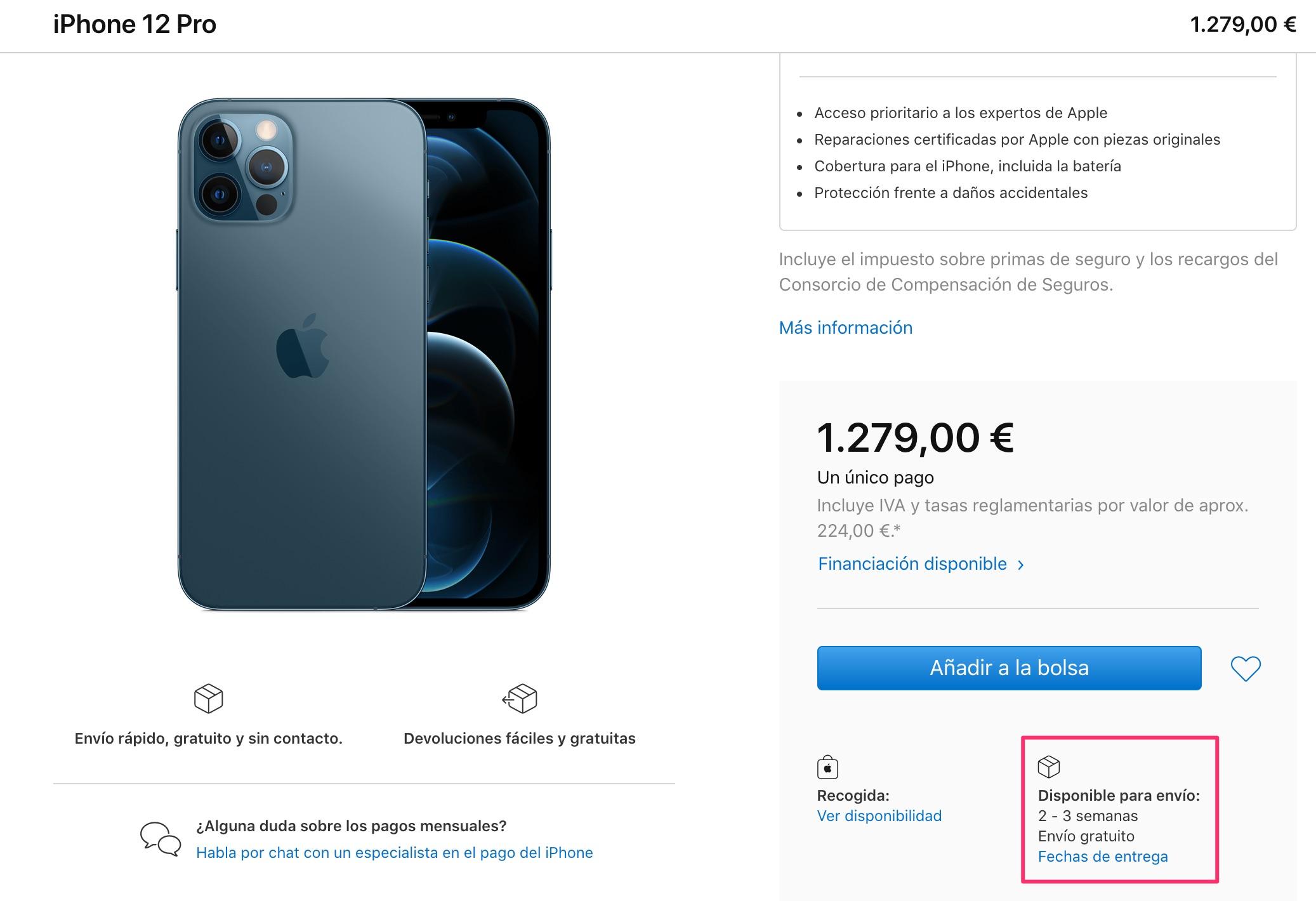 2 o 3 semanas de espera para el iPhone 12 Pro azul