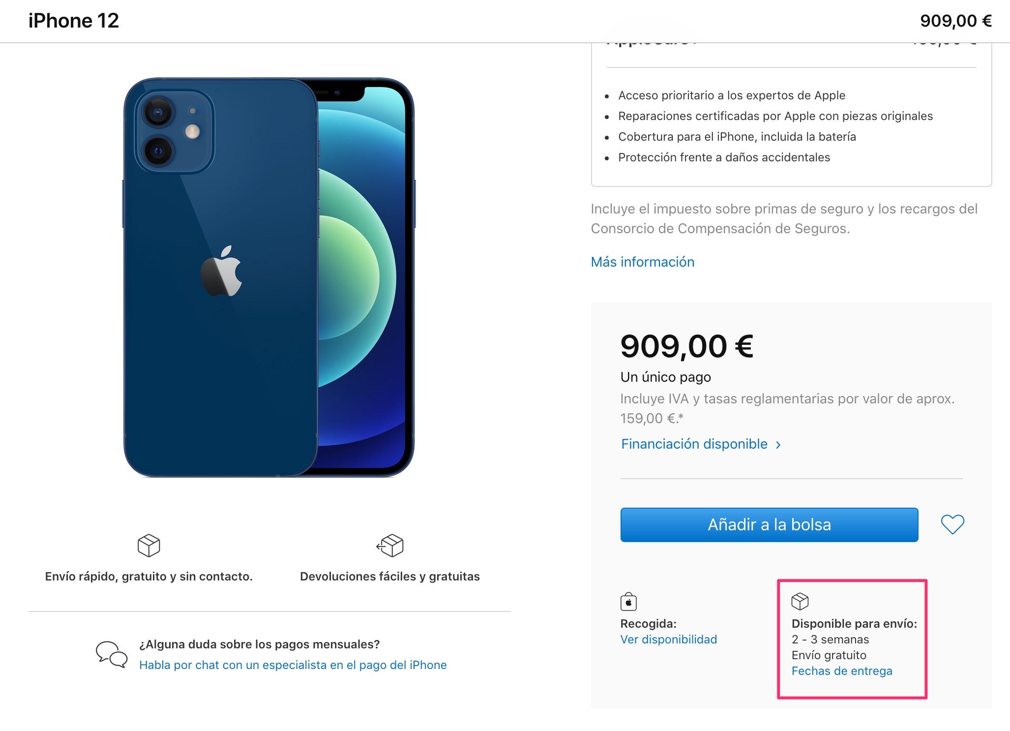 2 o 3 semanas de espera para el iPhone 12 azul