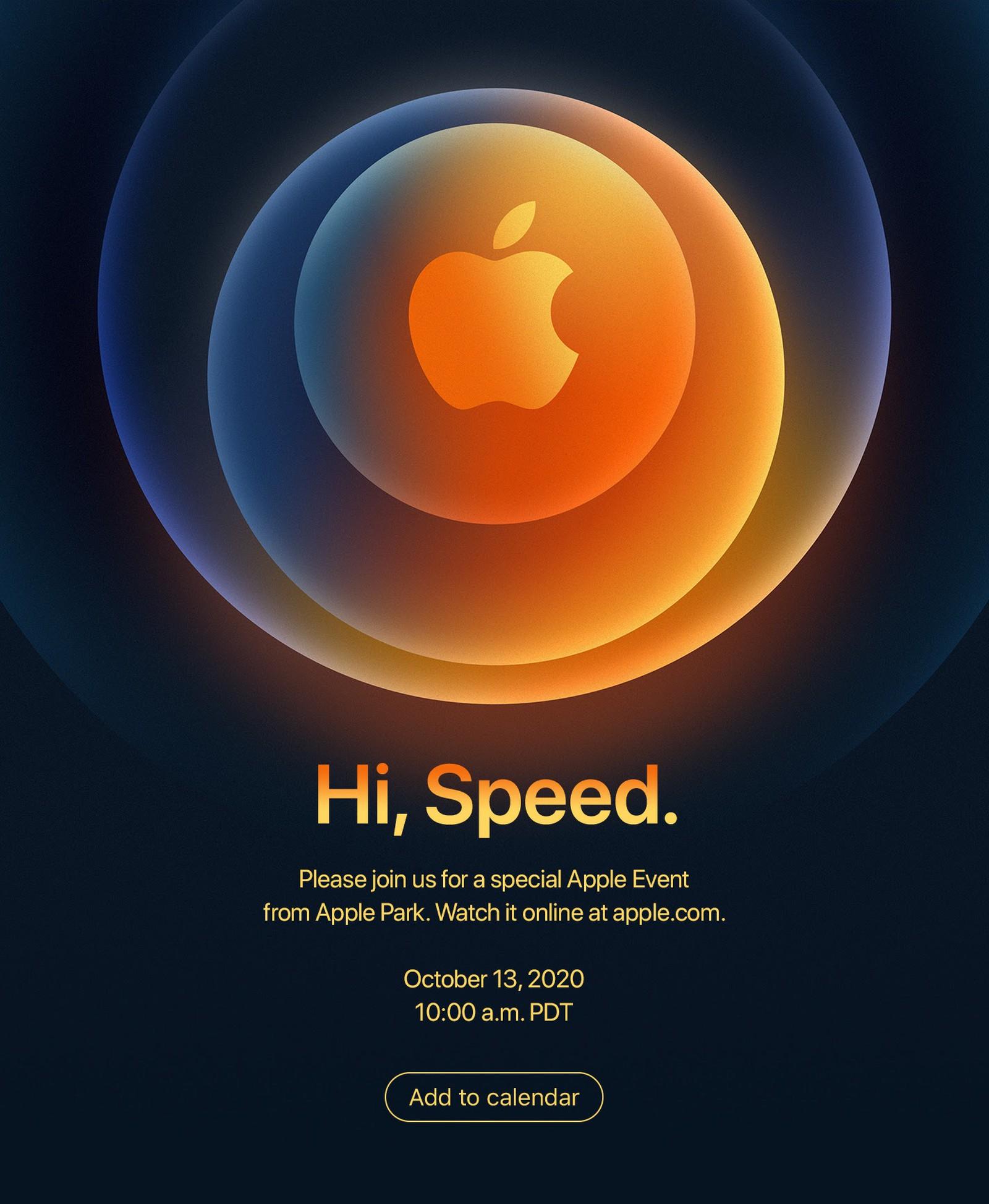 Hi Speed, invitación para la presentación del iPhone 12