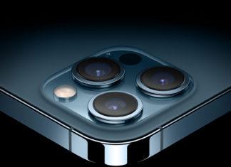 iPhone 12 Pro y su cámara trasera en azul