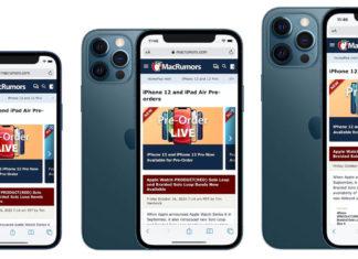 Todos los tamaños de iPhone 12, con el mini a la izquierda, el 12 Pro en el centro (con el mismo tamaño que el iPhone 12) y el 12 Pro Max a la derecha