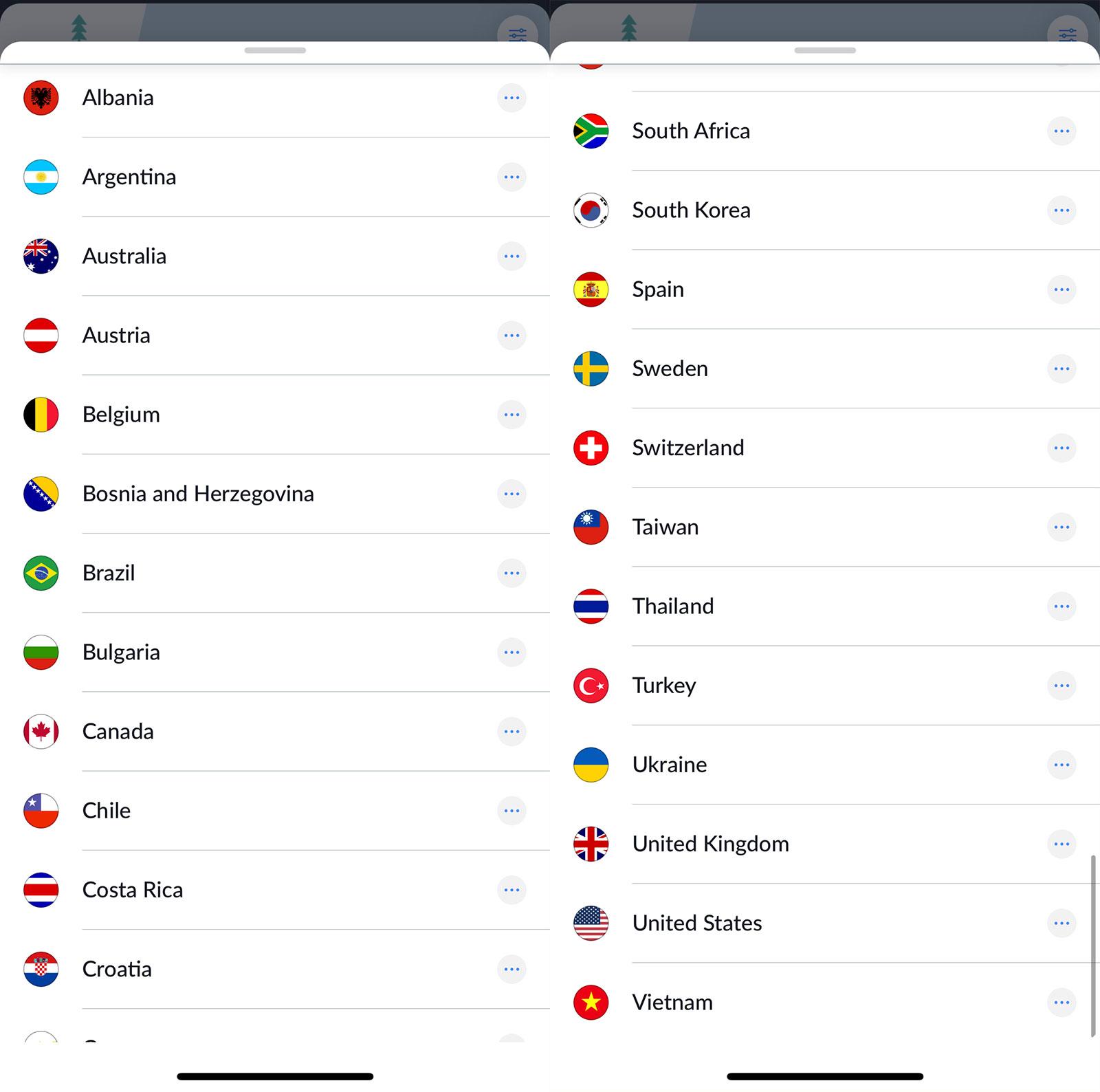 Incontable lista de países a los que puedes conectar