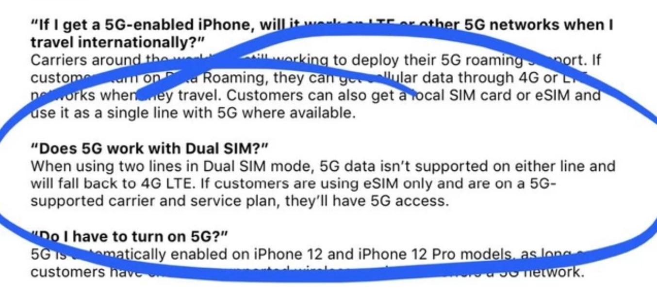 5G no disponible en modo SIM dual