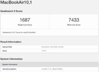 Puntuación de un MacBook Air con M1 en Geekbench