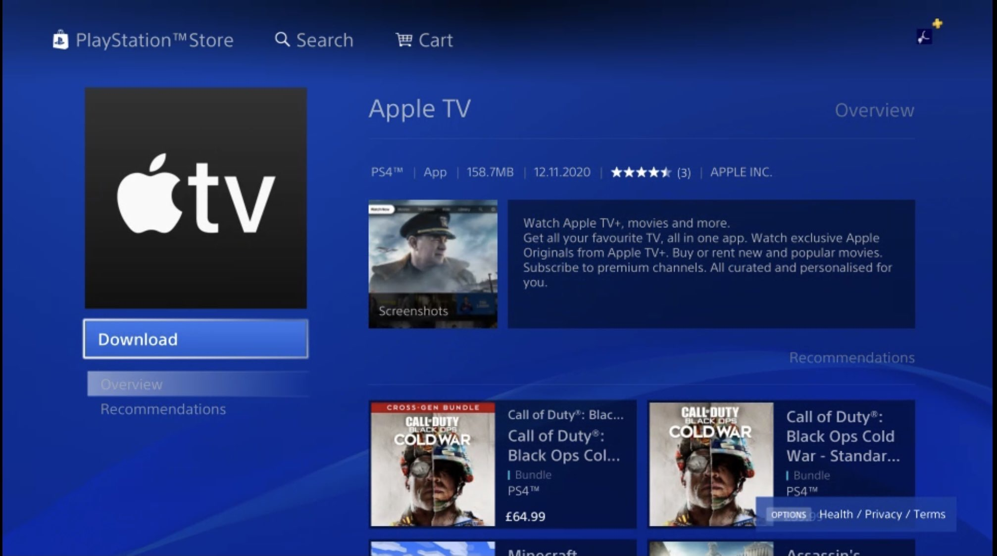 Apple TV en una PlayStation 4