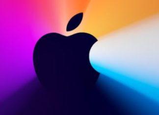 Logo de Apple con un colorido fondo de imaginación y fantasía