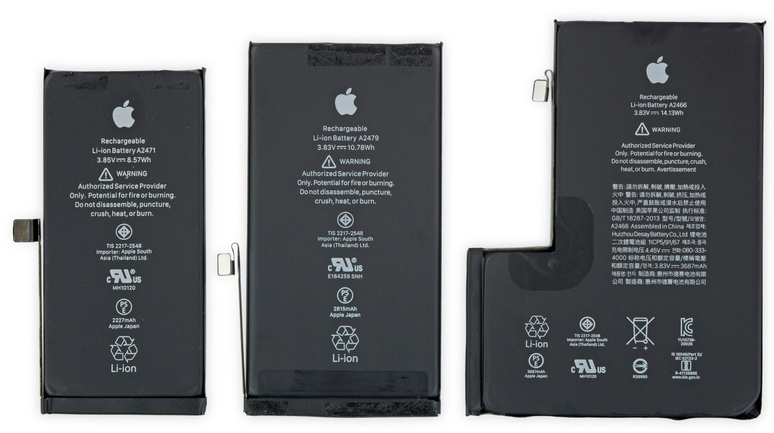 Batería del iPhone 12 mini, iPhone 12 y iPhone 12 Pro Max
