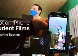 Estudiantes grabando vídeo con un iPhone