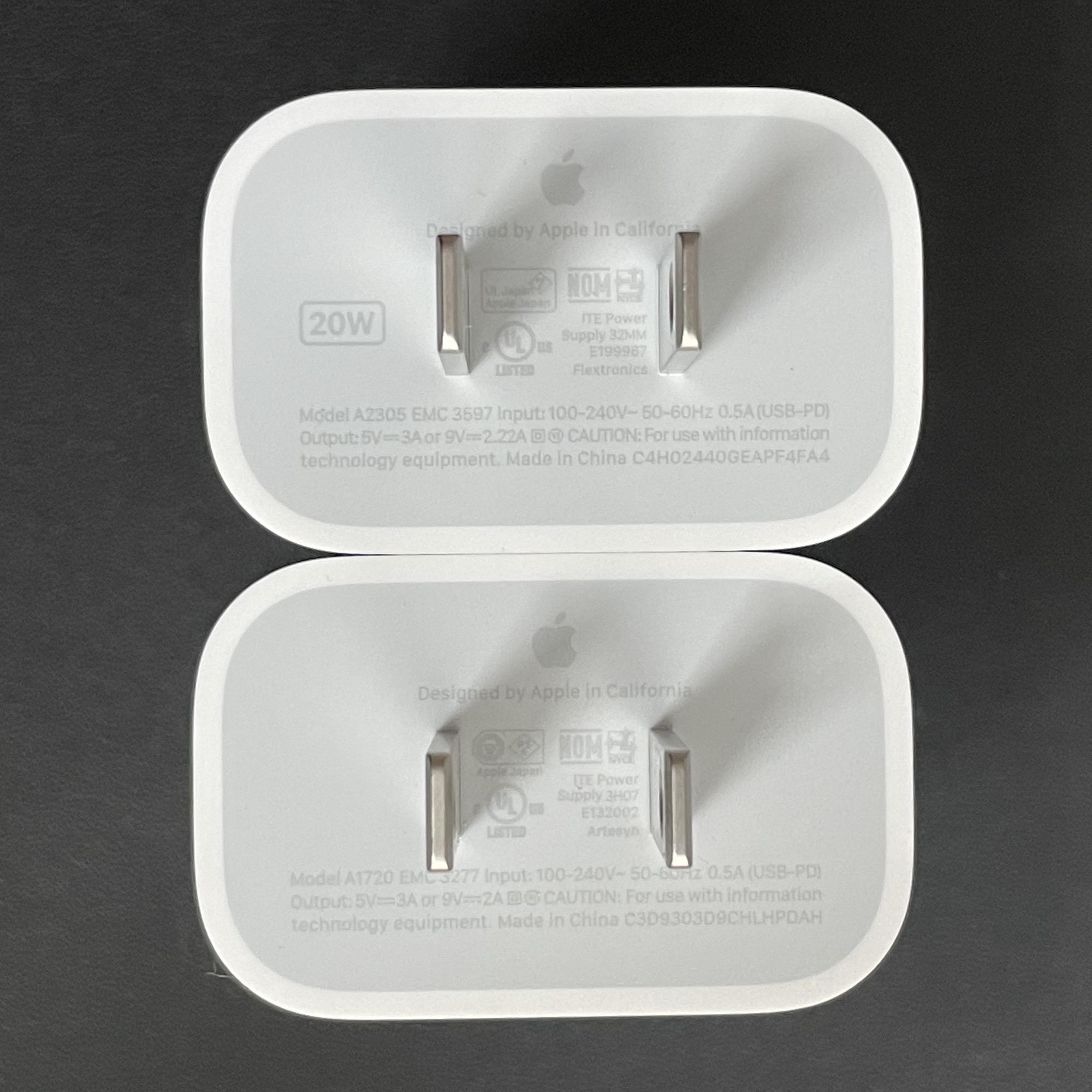 Adaptadores de corriente de 18 y 20 W de Apple