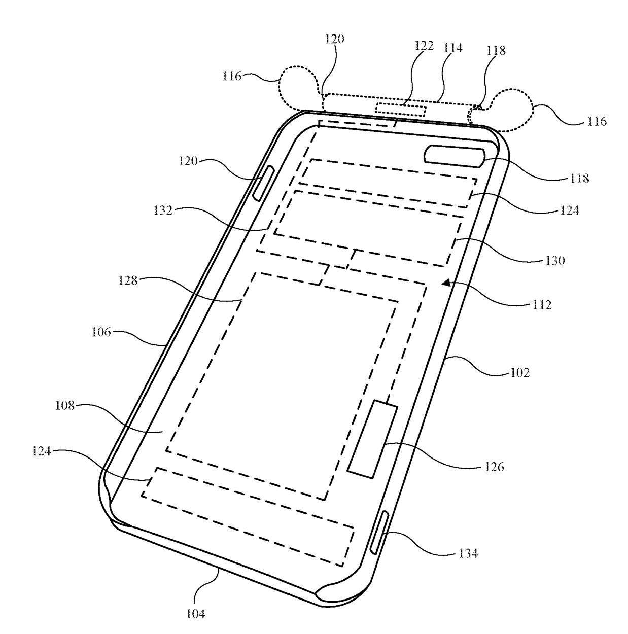 Funda con cargador de AirPods en una patente de Apple