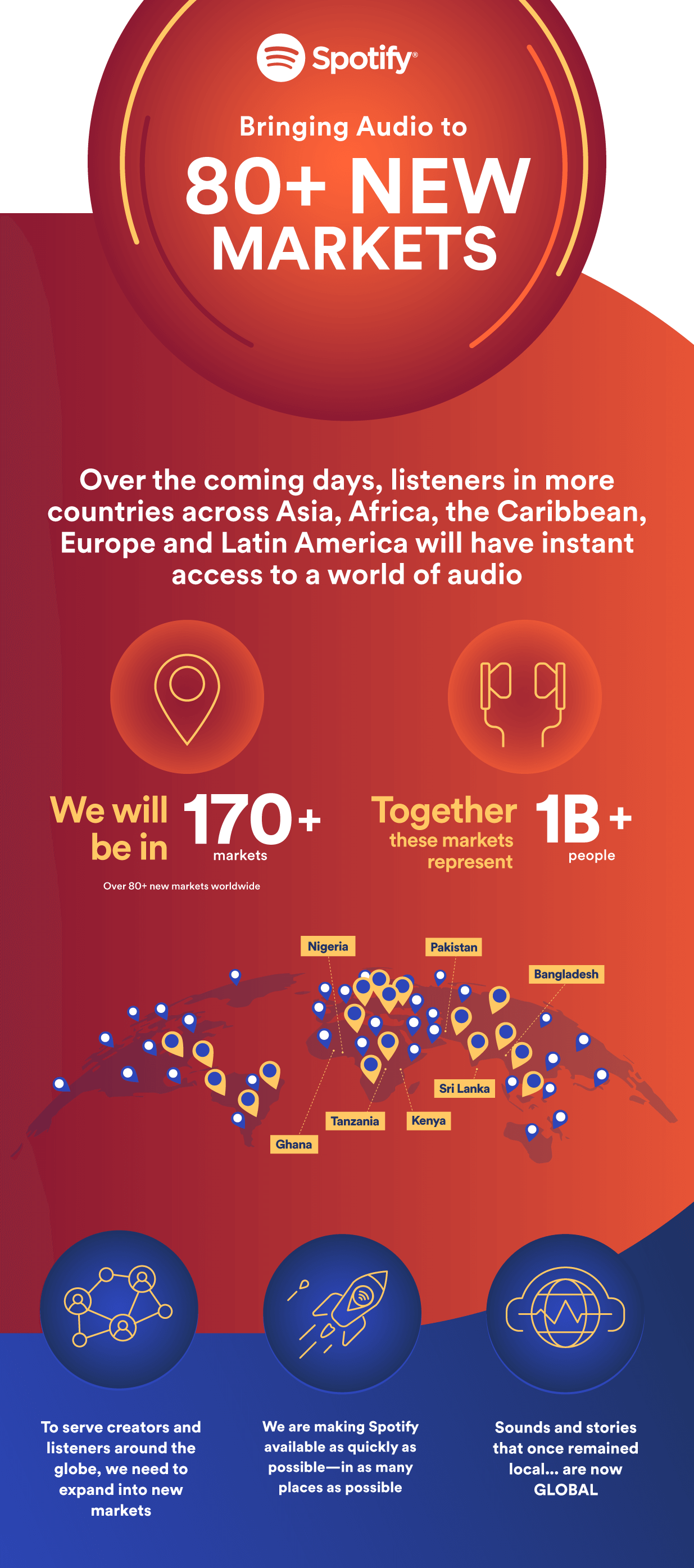 Expansión de Spotify a 80 países en febrero de 2021