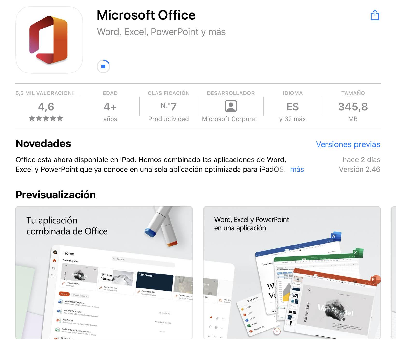 Microsoft office en la App Store del iPad