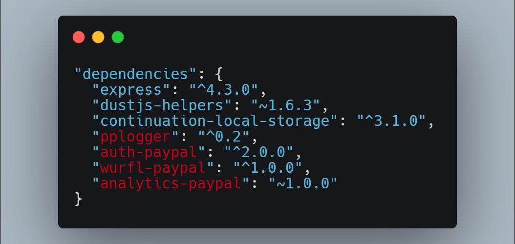 Dependencias de software de PayPal
