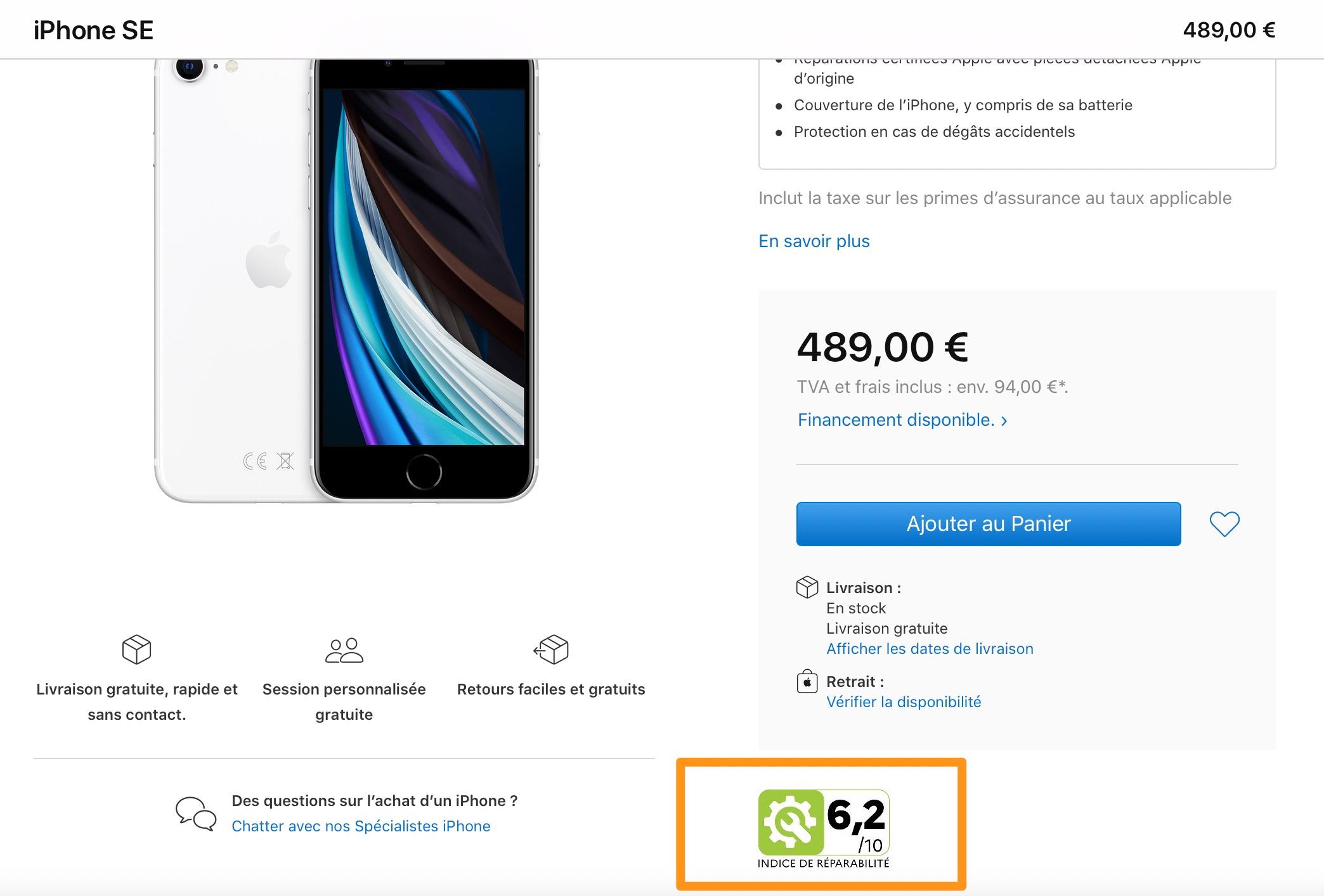 Puntuación de reparabilidad en la web de Apple en Francia