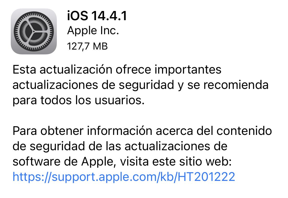 iOS y iPadOS 14.4.1