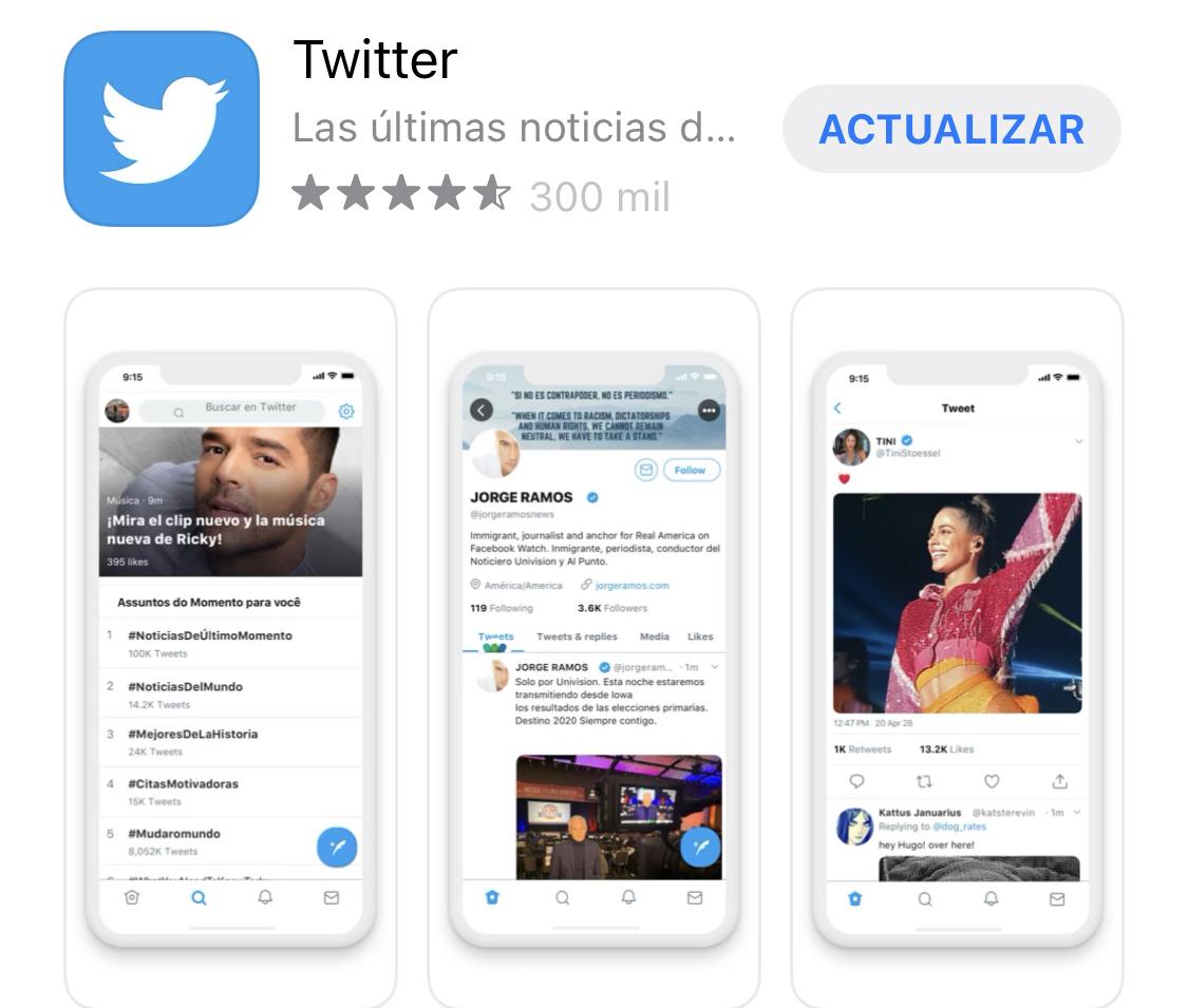 Actualización de Twitter disponible