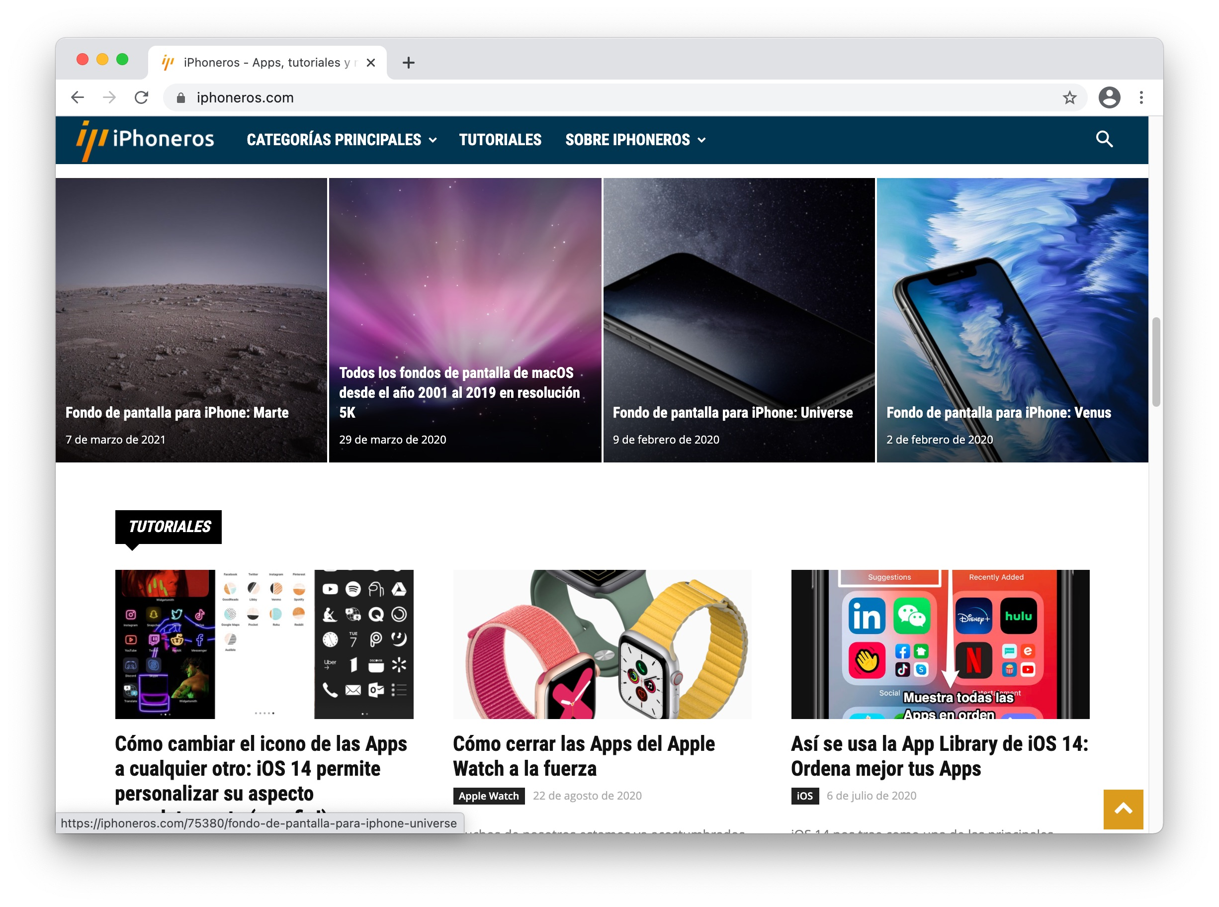 Chrome mostrando iPhoneros en macOS