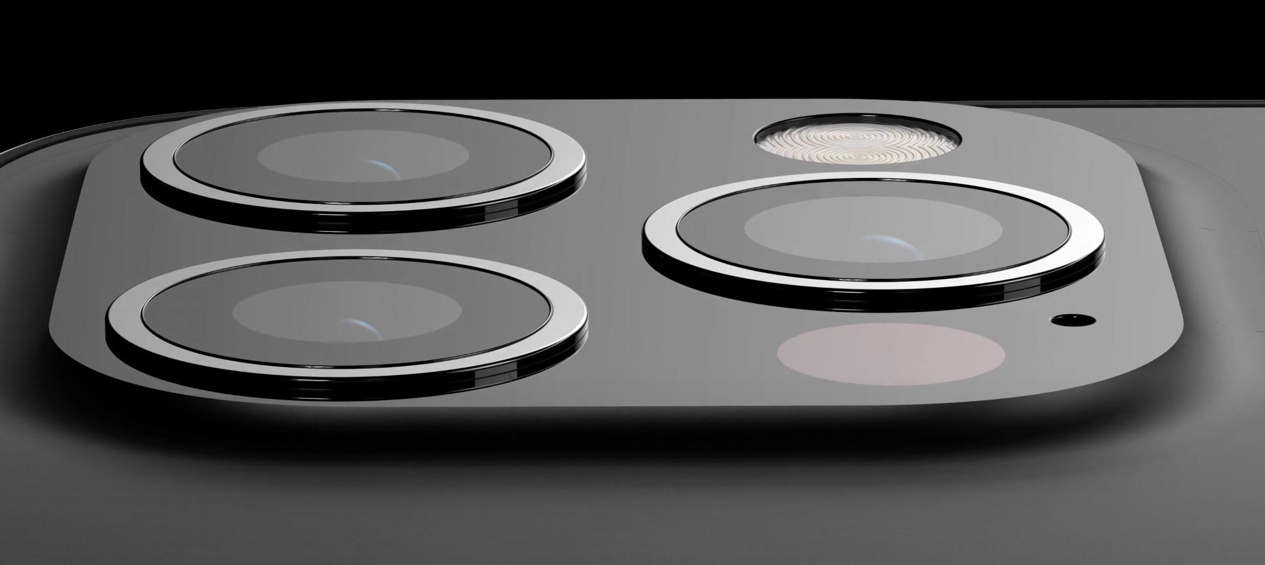 Detalle de la cámara: Concepto de diseño de iPhone 13 en negro mate
