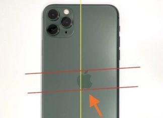 iPhone 11 Pro con defecto de fabricación mostrando un logo de Apple desalineado
