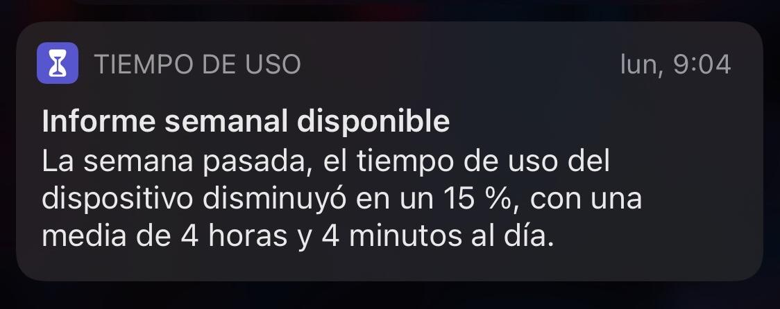 Noticiación del reporte semanal de utilización del iPhone