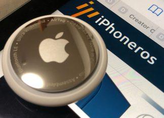 AirTag sobre un iPad con iPhoneros cargado