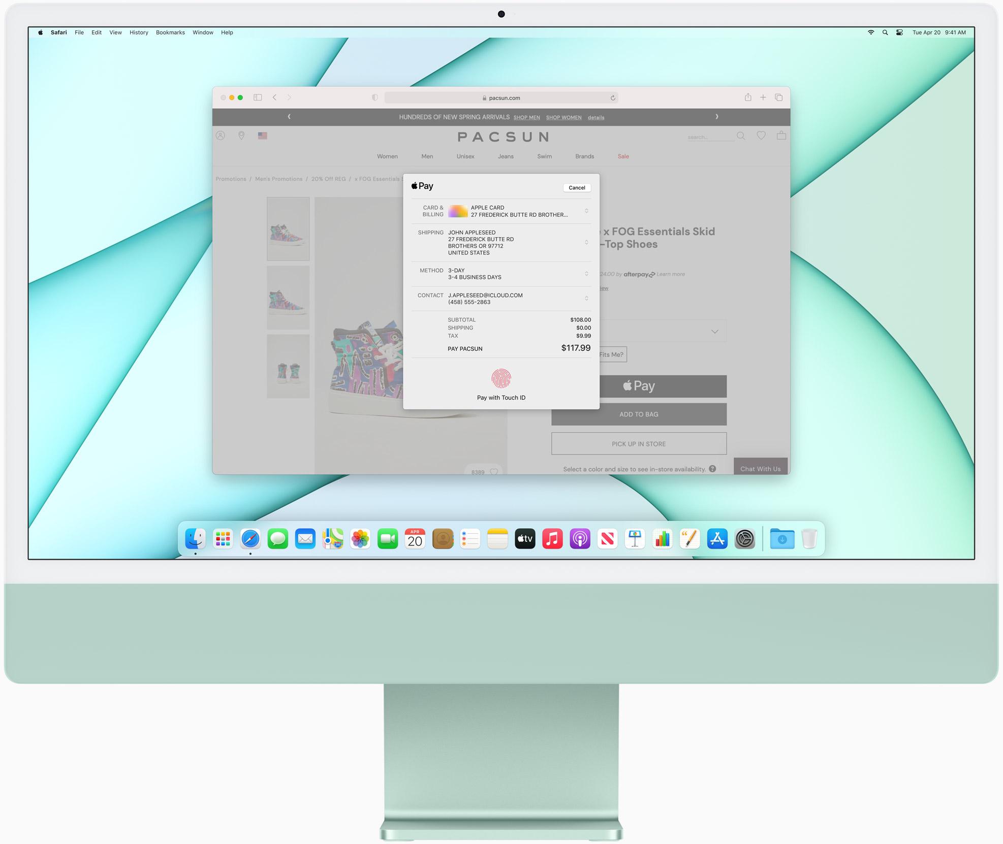 iMac Apple Silicon verde con teclado y ratón