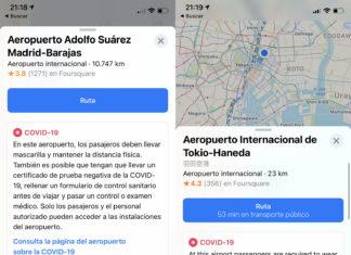 Información sobre Covid en aeropuertos, gracias a Apple Maps