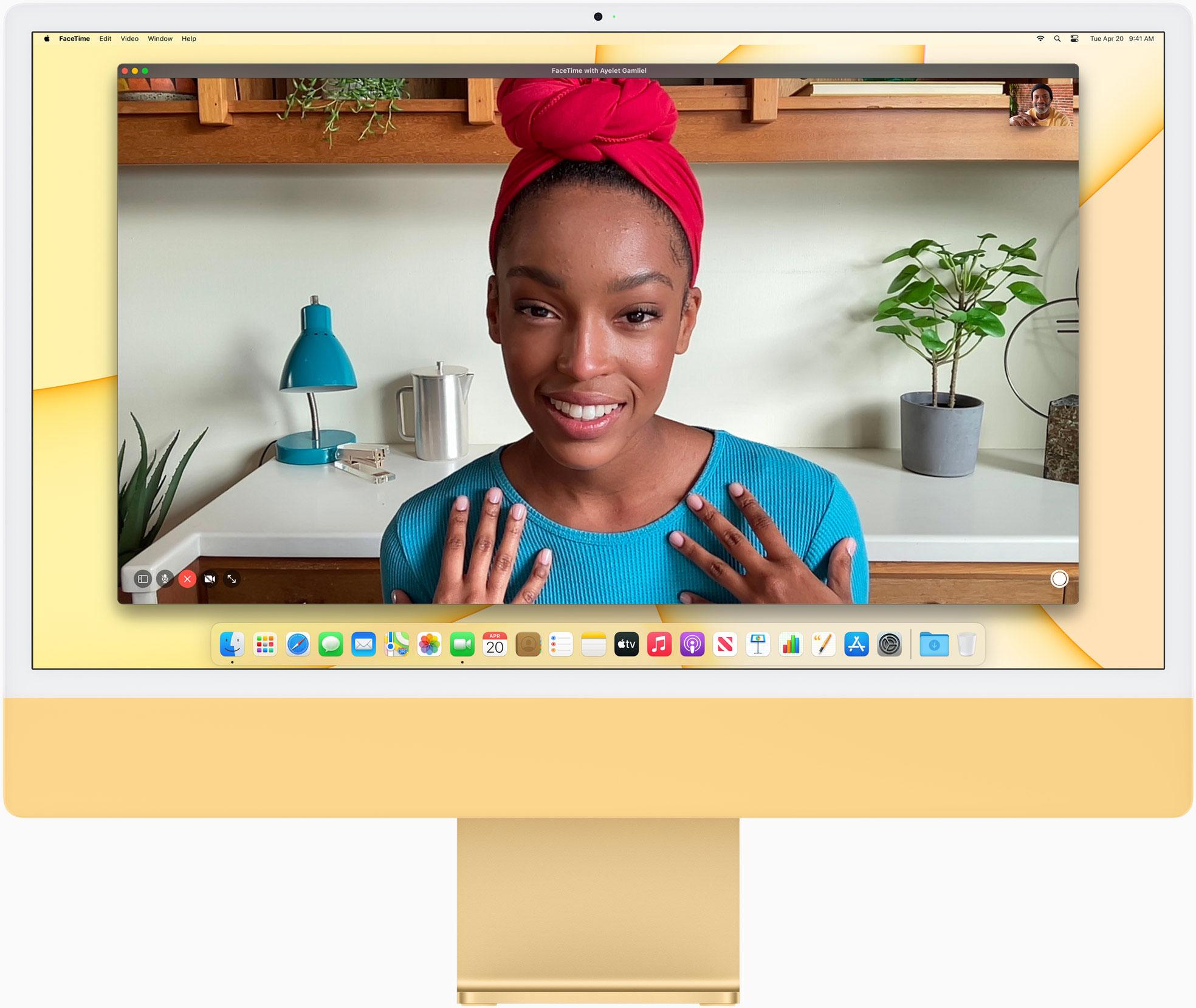 iMac Apple Silicon amarillo con cámara frontal 1080p