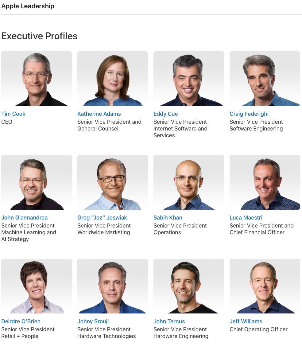 Junta directiva de Apple en abril de 2021
