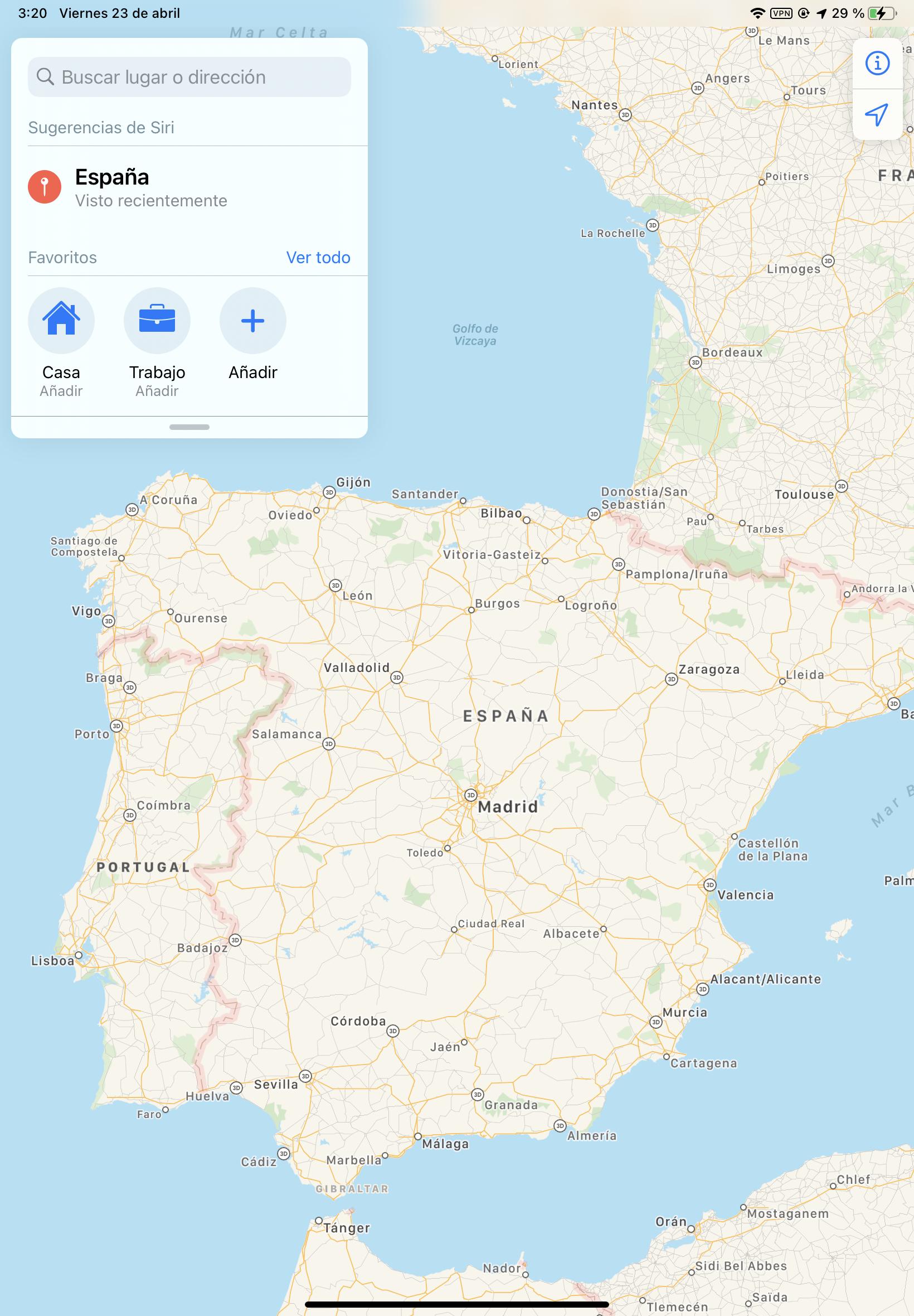 España y Portugal en Apple Maps
