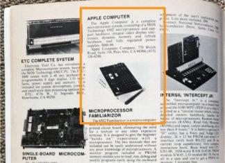 Primer anuncio del primer ordenador de Apple