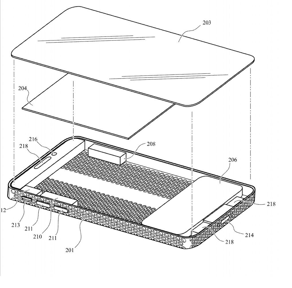 Carcasa de aluminio en un iPhone con aspecto de rallador de queso