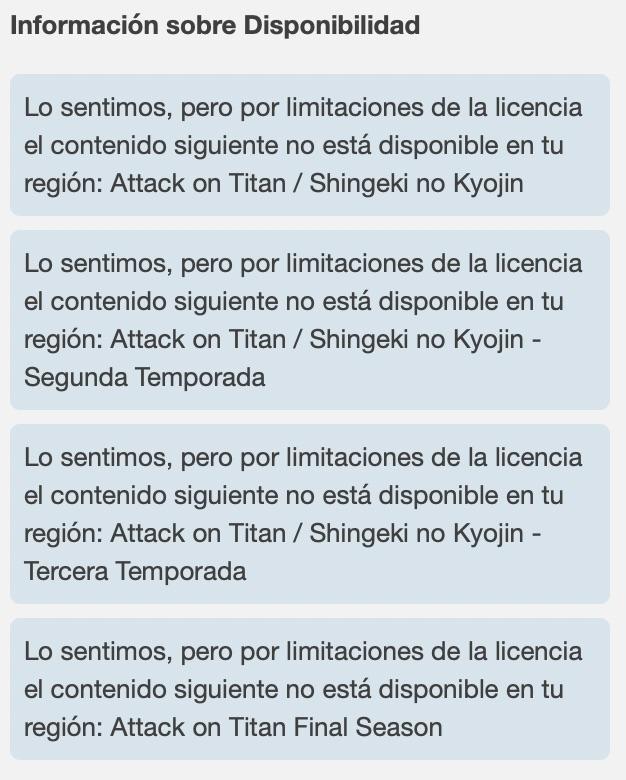 Shingeki no Kyojin o Ataque a los titanes no disponible en tu país