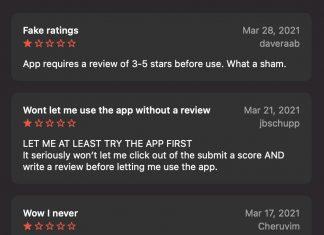 Reseñas falsas en la App Store