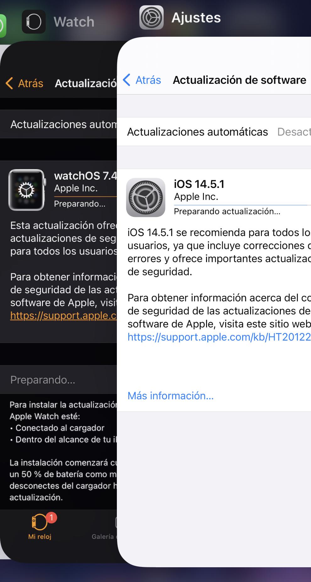 iOS 14.5.1 y la correspondiente actualización adjunta de watchOS