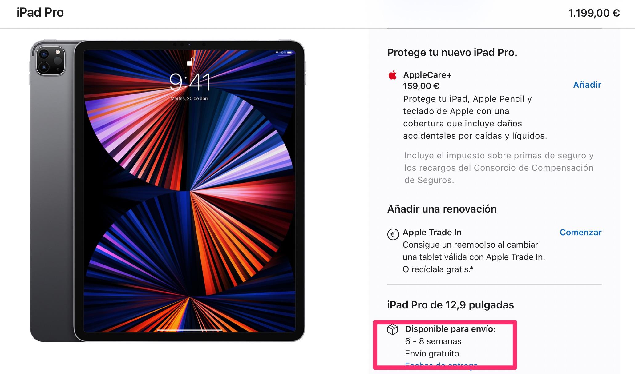 2 meses de espera para comprar un iPad Pro de 12,9 pulgadas con M1