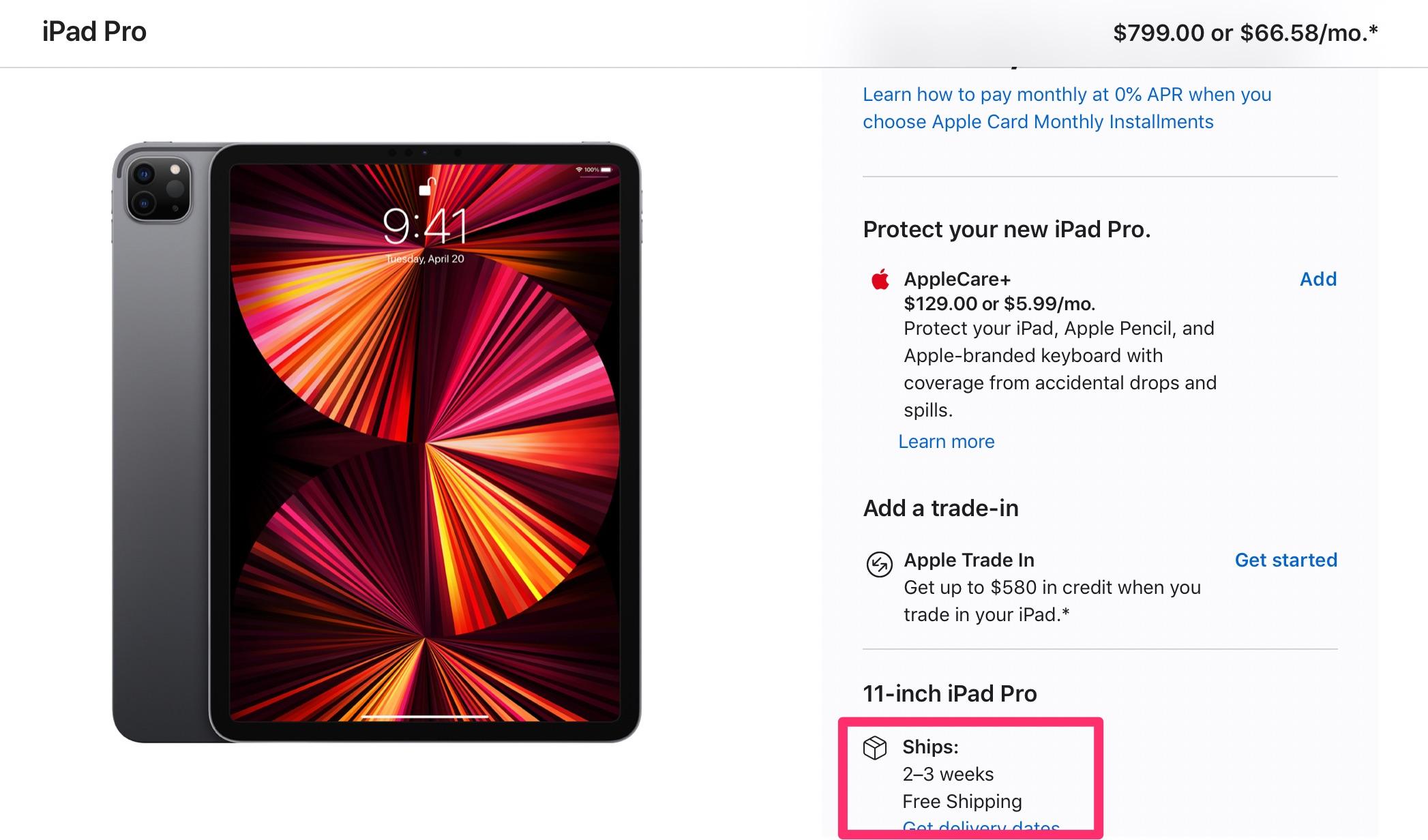 iPad Pro con M1 de 11 pulgadas disponible en 3 semanas
