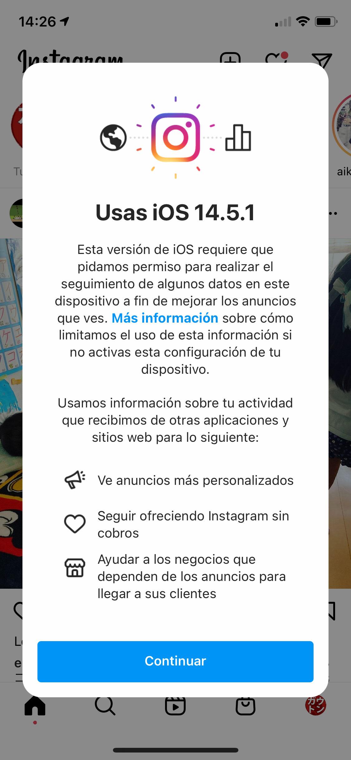 Petición de rastreo entre Apps de Instagram