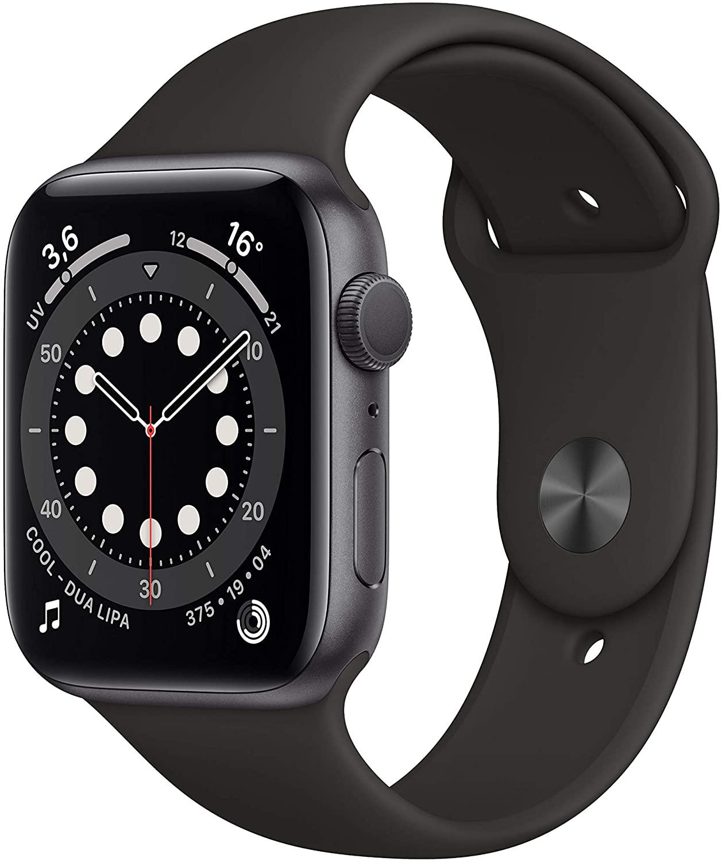 Apple Watch Series 6 en color negro, caja de 44mm