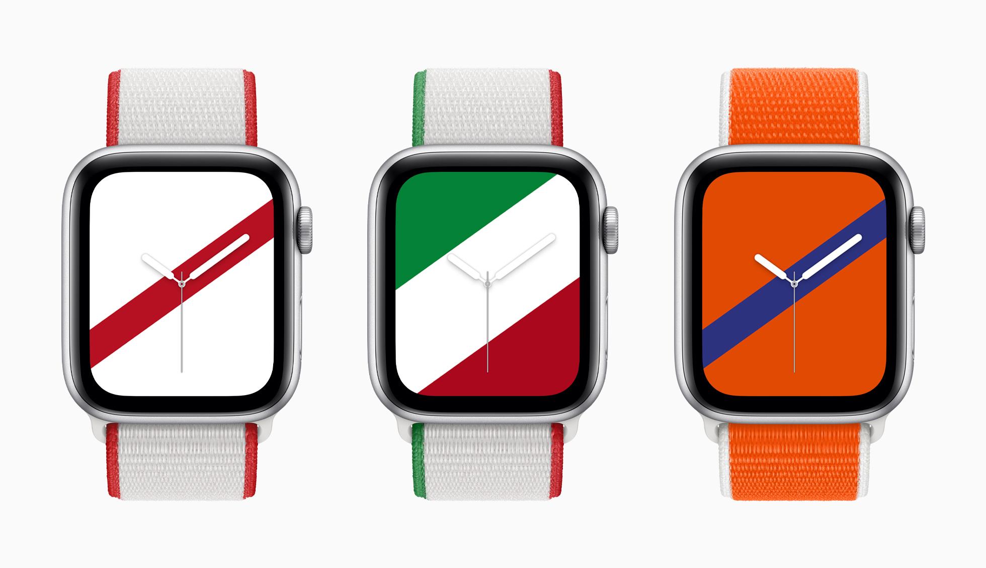 Correas para el Apple Watch basadas en los colores de las banderas de Japón, México y Países Bajos