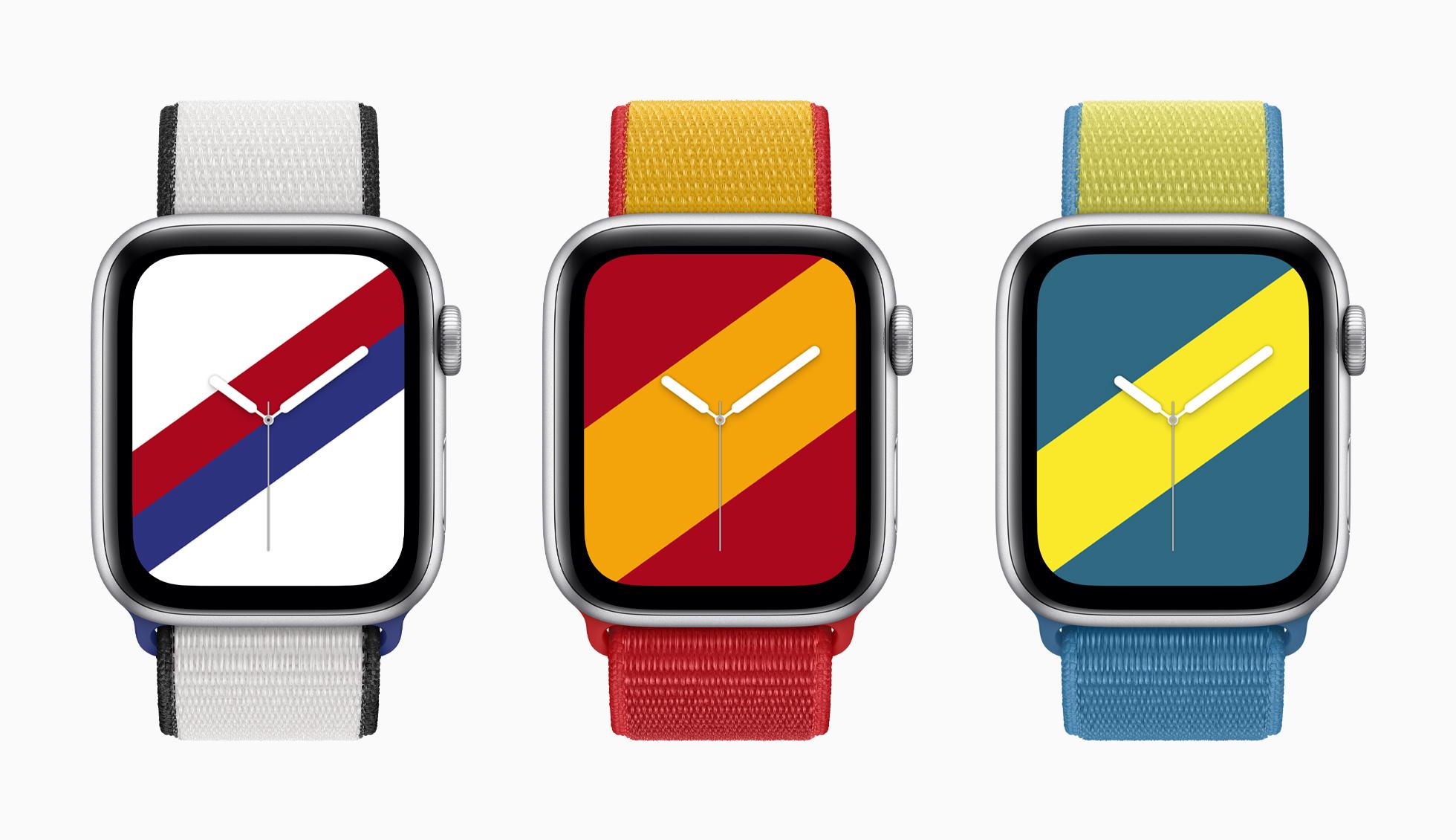 Correas para el Apple Watch basadas en los colores de las banderas de Corea del Sur, España y Suiza