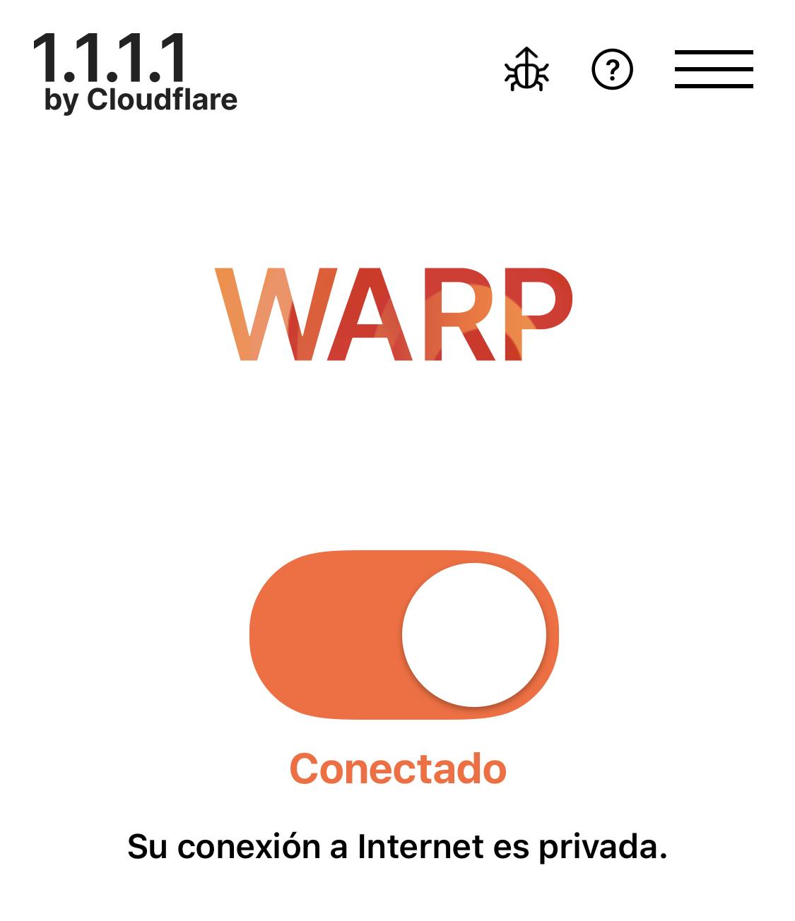 App de WARP (1.1.1.1) para cifrar datos