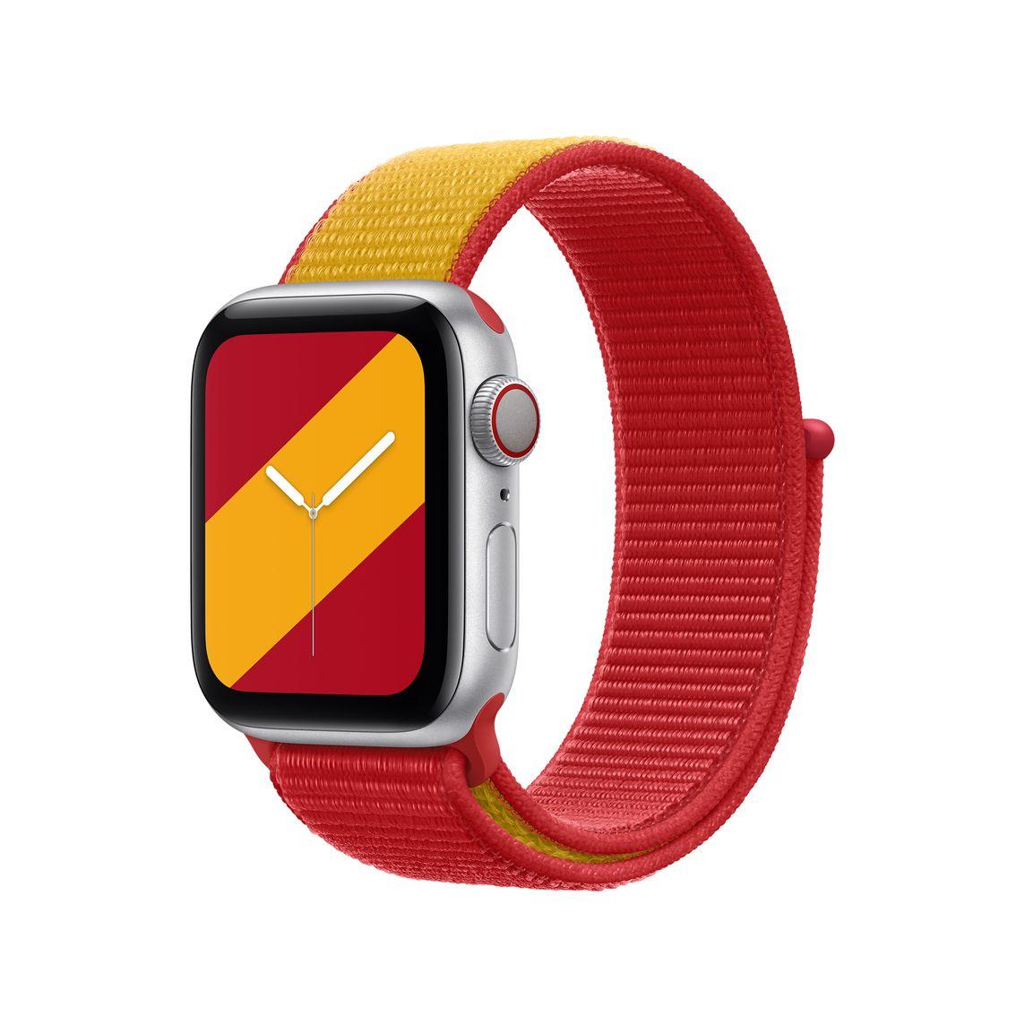 Apple Watch con sport solo loop basada en los colores de la bandera de España