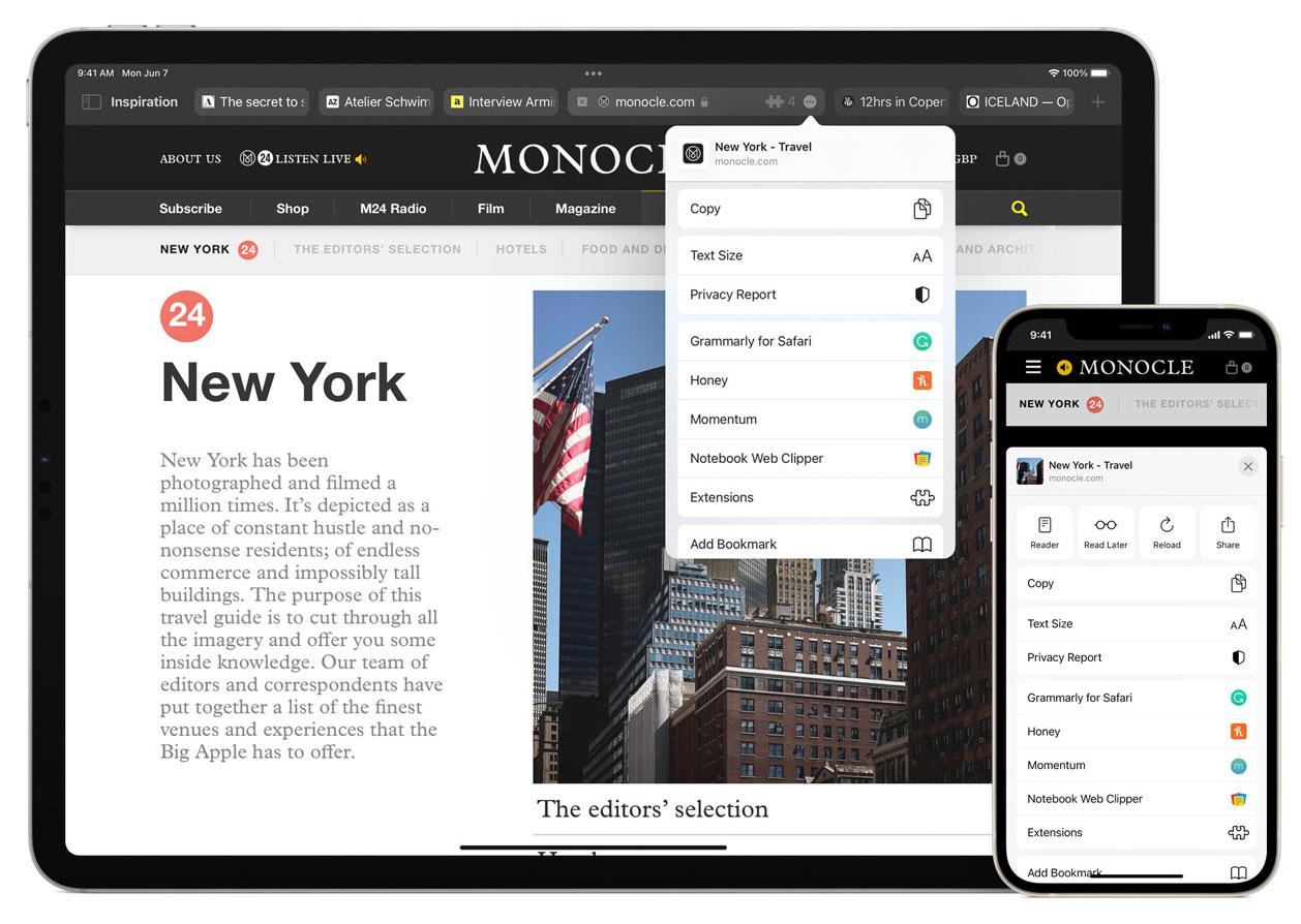 Extensiones multiplataforma para Safari en iOS 15, iPadOS 15 o macOS Monterey