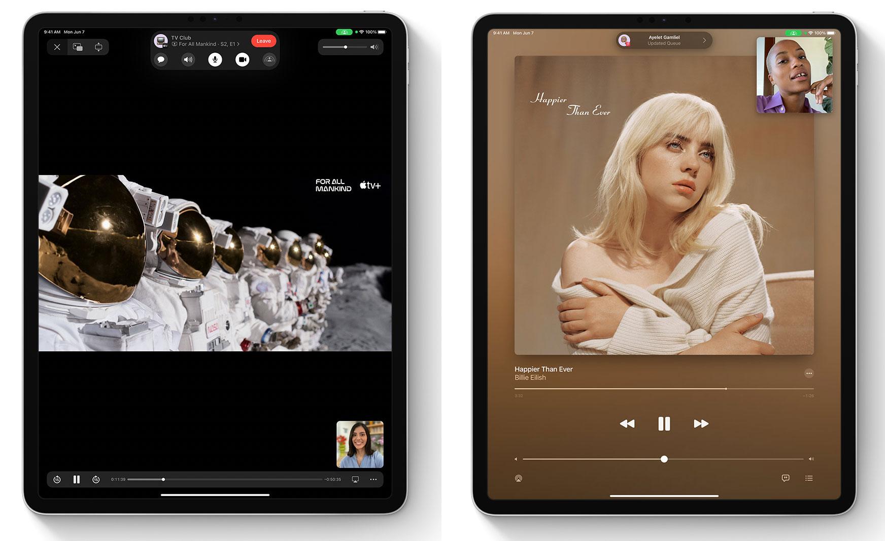 Compartiendo una serie de TV o música vía FaceTime en un iPad